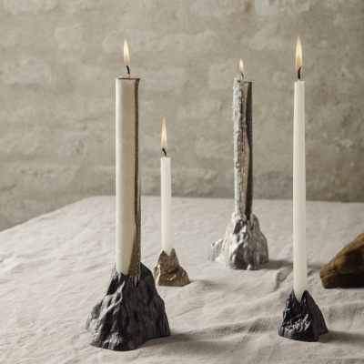 Stone Candle Holder - Large - Brass