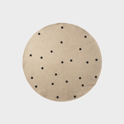 Jute Round Carpet - Dots - Small