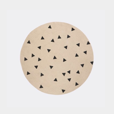 Jute Round Carpet - Triangles - Small