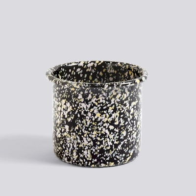 Enamel Herb Pot - Sprinkle/Black