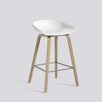 About A Stool AAS32 - H75 - Matt Lacquered Base - White Shell (Fast Track)