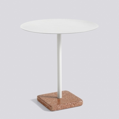 Round Terrazzo Table - Red Base - Light Grey Top