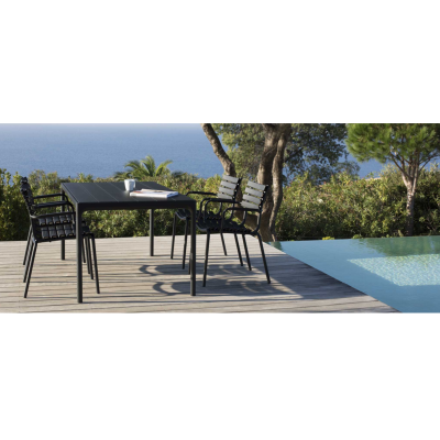 Four Outdoor Dining Table 90cmx90 - Black