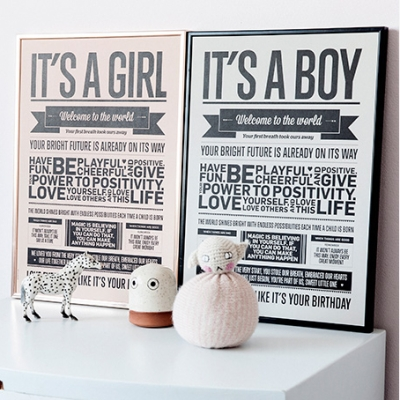 It's a Girl Poster - Peach - A3