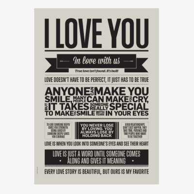 I Love You Poster - Warm Grey - A3