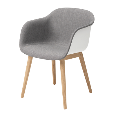 Fiber Armchair - Wood Base - Front Upholstery