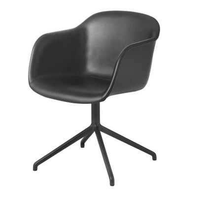 Fiber Armchair - Swivel Base - Leather Shell