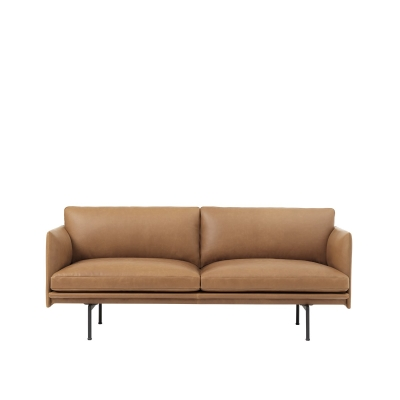 Outline 2-Seater - Black/Cognac Leather