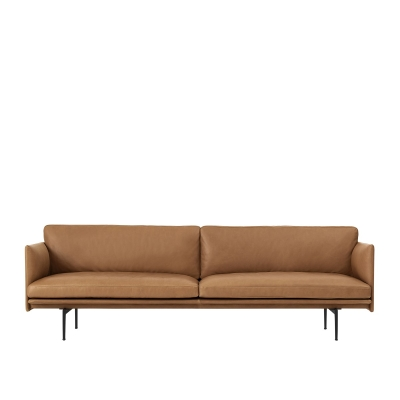 Outline 3-Seater - Black/Cognac Leather