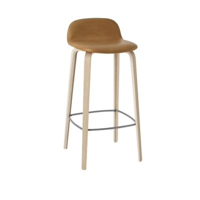 Visu Bar Stool - Cognac Leather/Black Leather