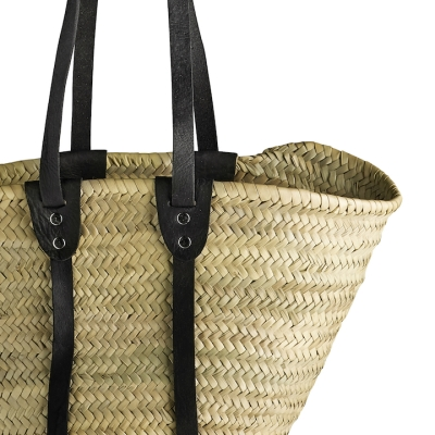 Straw Hand Bag with Long Black Leather Handles