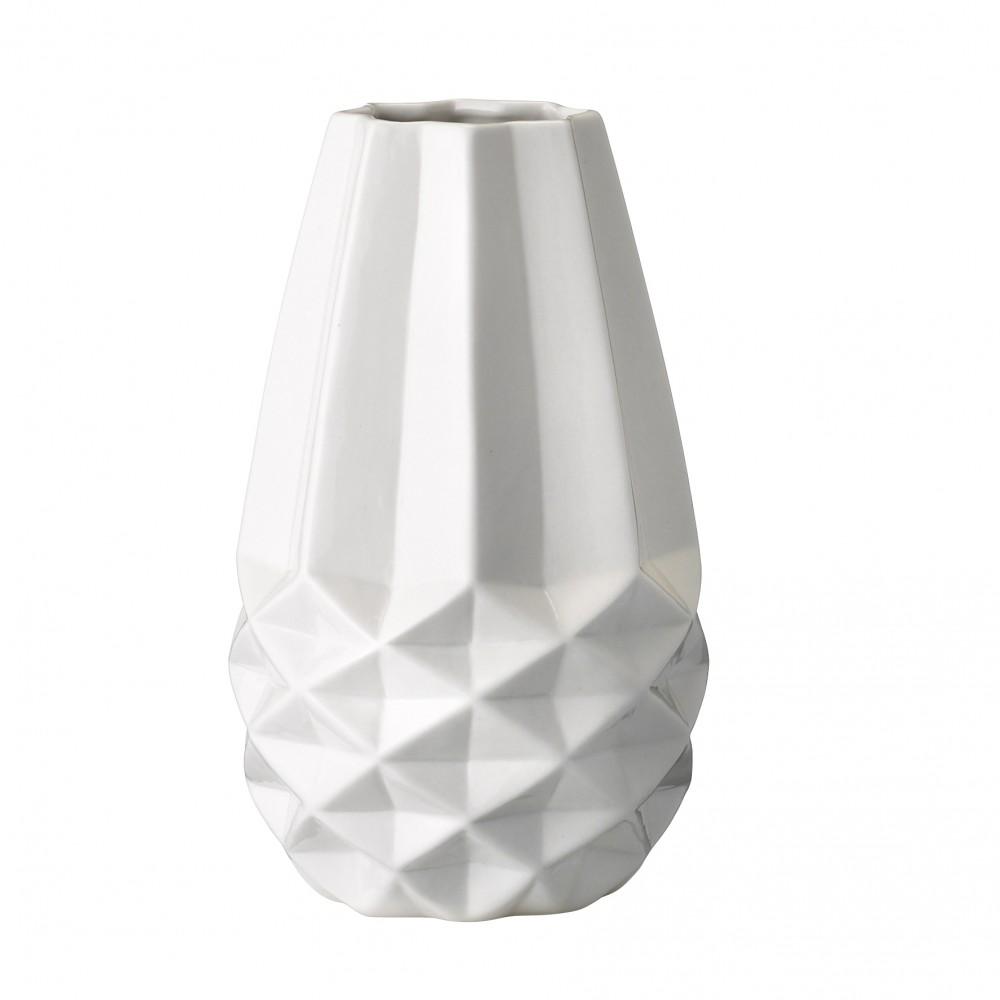 bloomingville geometrically structured vase white vaas. Black Bedroom Furniture Sets. Home Design Ideas