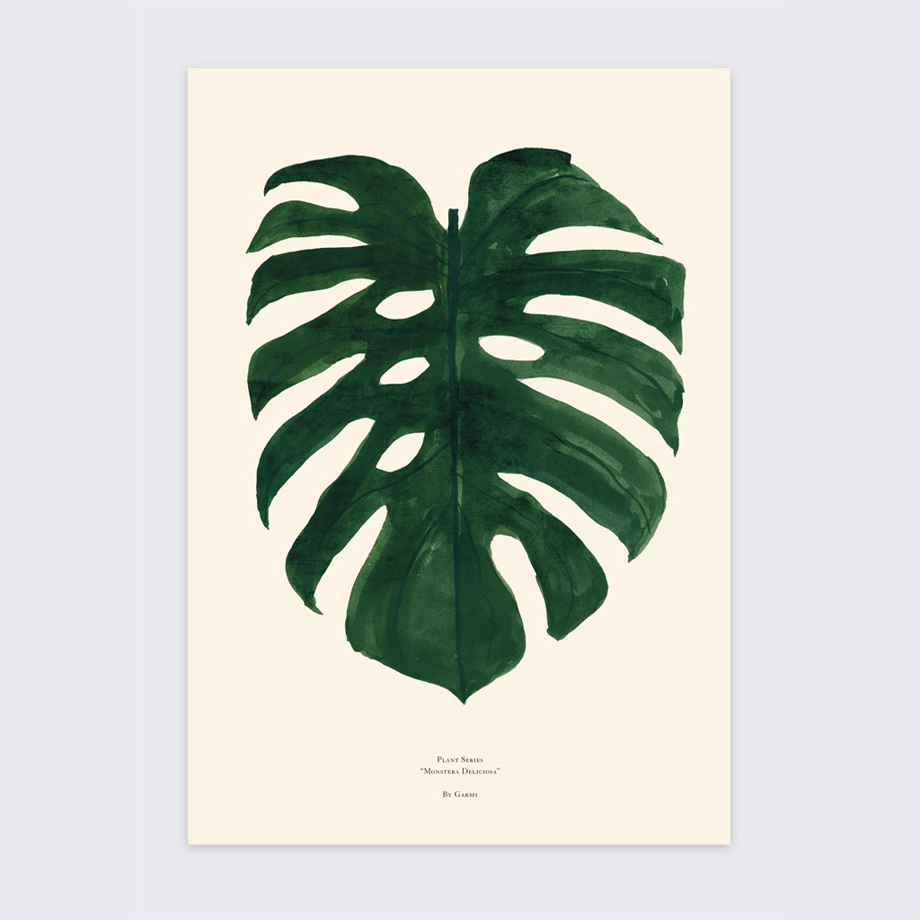 Watercolor Green Plants Monstera Nature Posters And Prints: By Garmi Print Monstera Delicious Green A3
