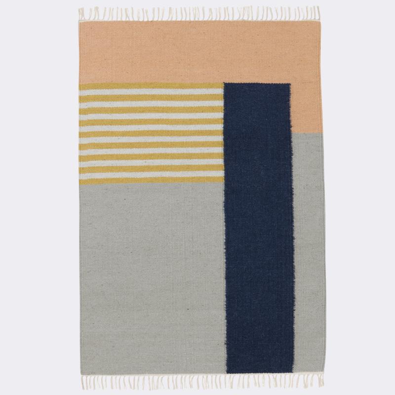 ferm living kelim rug white lines large tapijt. Black Bedroom Furniture Sets. Home Design Ideas