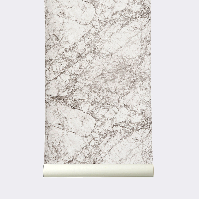 Ferm Living Wallpaper Ferm Living Marble Wallpaper Grey Behangpapier