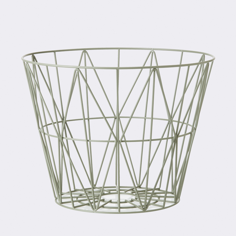 ferm living wire basket dusty green large mand the. Black Bedroom Furniture Sets. Home Design Ideas