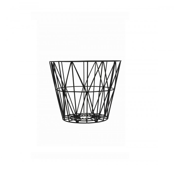 ferm living wire basket black medium mand the shop. Black Bedroom Furniture Sets. Home Design Ideas